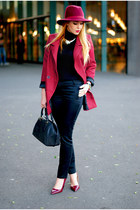 maroon Primark hat - brick red Wholesale7 blazer - black Mango pants