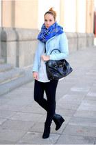 blue Primark scarf - black Primark boots - sky blue Zara jacket