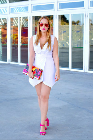 hot pink Lymont bag - white Rosegal dress - hot pink Ray Ban sunglasses