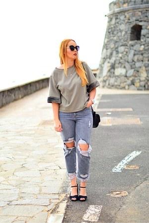 black opticalh INFACE sunglasses - heather gray Bershka jeans