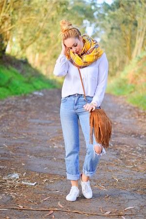 blue Zara jeans - light orange Zara scarf - brown Mango bag