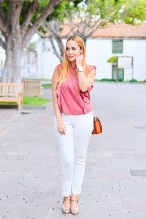 pink Mango blouse - tawny Mango shoes - bronze Parfois bag - white Mango pants