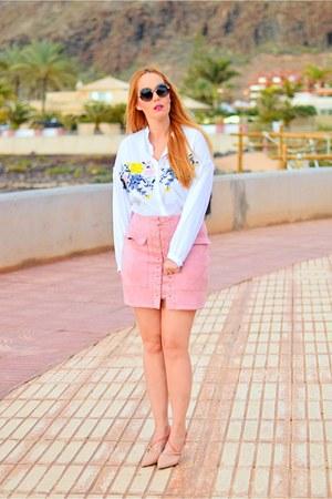 heather gray opticalh Jimmy Choo sunglasses - white Zara blouse