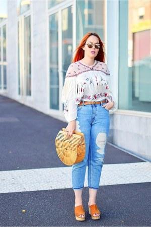 bronze Zara shoes - navy pull&bear jeans - maroon Ray Ban sunglasses