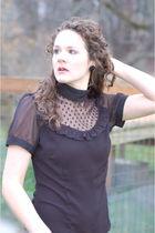 black NBR blouse - black NBR earrings