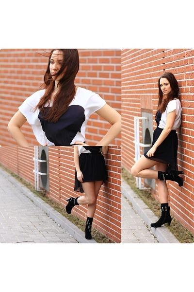 Stradivarius skirt - Centro boots - H&M top