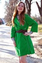 side zipper coat - wooven belt - leopard blouse