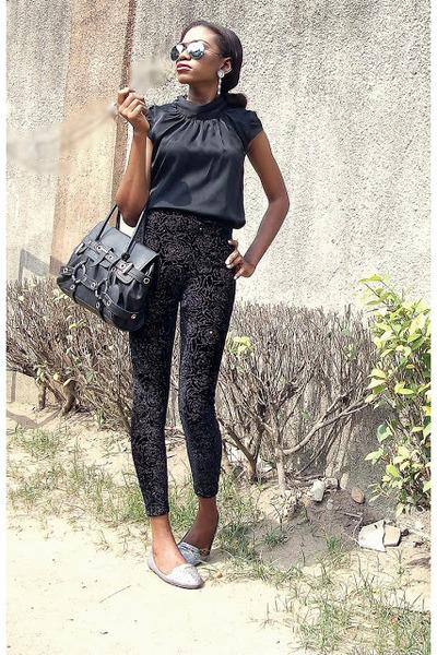 black Luella bag - black velvet Susen pants - black silk River Island top