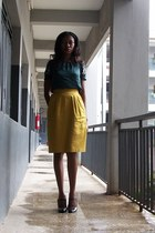dark green boho QS top - black select shoes - mustard Vipel skirt