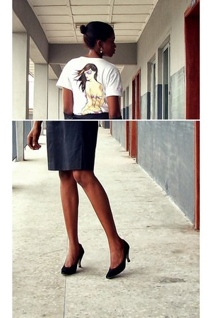 black Gérard darel skirt - white escada t-shirt - black Classiques pumps