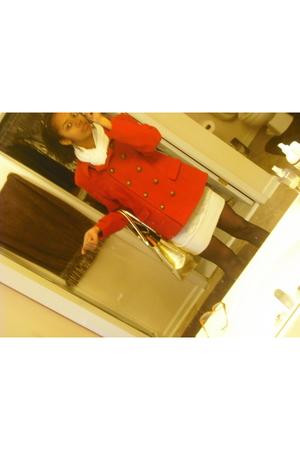 red Old Navy jacket - white Rue 21 dress - black tights - white H&M scarf