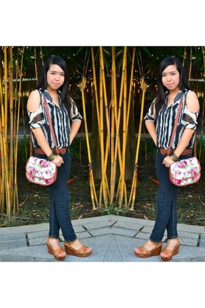 floral Grab bag - denim RRJ jeans - brown Parisian wedges - sheer random top