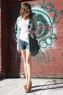 Blue-bcbg-cardigan-white-h-m-t-shirt-blue-gap-shorts-brown-target-shoes-