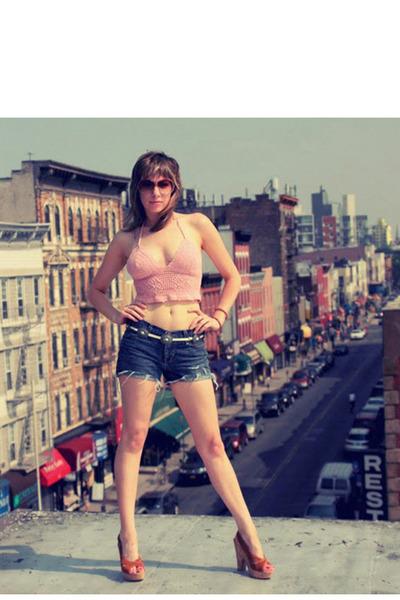 pink Dusty Rose Vintage top - brown Target shoes - blue diy cut-off Gap shorts