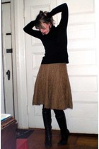 H&M sweater - H&M skirt - HUE stockings - Anne Klein boots
