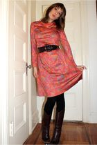 red Beacons closet dress - brown NY&Co belt - black Forever 21 leggings - brown