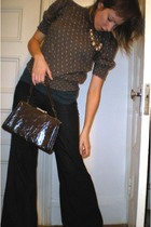 H&M blouse - Uniqlo jeans - Thrift Store purse - Thrift Store necklace