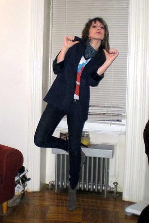 Target blazer - H&M t-shirt - H&M scarf - Uniqlo jeans - calvin klein boots