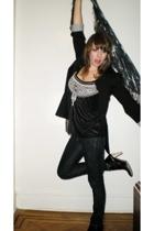 Zara blazer - H&M blouse - Uniqlo jeans - boots