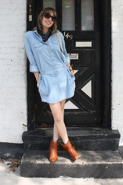 blue Topshop dress - brown Steve Madden boots - black kensie sunglasses - blue H