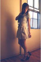 blue Target t-shirt - beige Zara skirt - brown Target shoes - white Old Navy sca