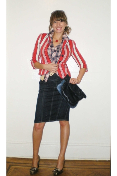 luella bartley for target blazer - shirt - vintage belt - Gap skirt - calvin kle