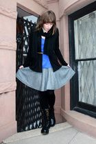 black Uniqlo cardigan - blue Forever 21 t-shirt - gray H&M skirt - black Forever