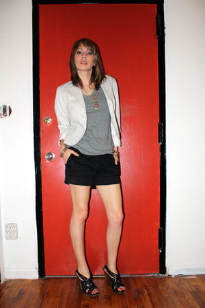 black Miss Sixty shoes - white H&M blazer - black H&M shorts
