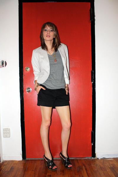 black Miss Sixty shoes - white H&M blazer - black H&M shorts