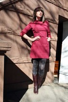 red Beacons closet dress - gray tights - brown Old Navy boots - red Craft Fair a