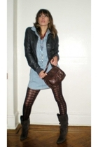 H&M jacket - Topshop dress - H&M stockings - Carlos Santana boots - H&M purse -