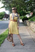 yellow Thrift Store dress - brown Target shoes - beige Makowsky purse - beige th
