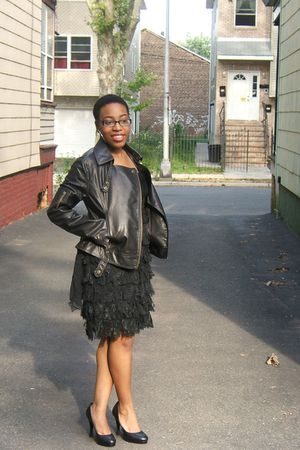 brown Nordstrom jacket - black Javier Simorra dress - black BCBG shoes