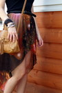 Burnt-orange-galaxy-print-romwecom-skirt-tan-target-bag