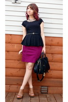 black studded peplum One Clothing top - magenta pencil H&M skirt