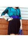 Teal-tie-dye-forever-21-top-black-mesh-overlay-vince-camuto-skirt