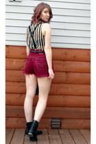 maroon high waisted DIY shorts - black Diba boots - black bralet Forever 21 bra