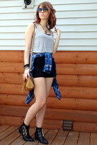 heather gray studded tank Forever 21 top - blue plaid shirt thrifted top