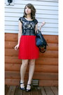 Black-cropped-lace-h-m-divided-top-red-pleated-forever-21-skirt
