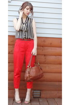 carrot orange high waisted Forever 21 pants - brown leather thrifted bag