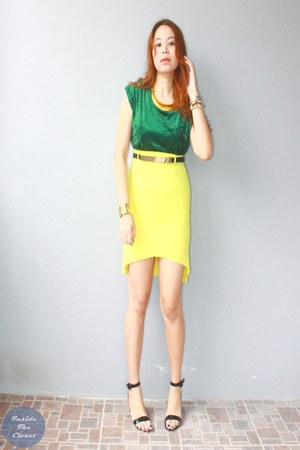 velvet Androgyny top - gold Peaches on Top necklace - Androgyny skirt