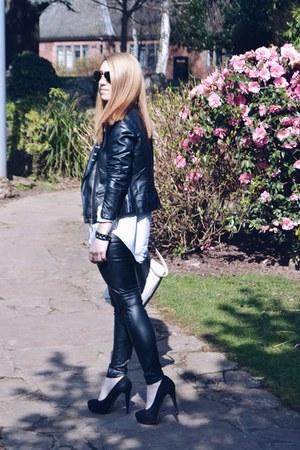 jennyfer jacket - H&M leggings - Zara shirt - Ray Ban sunglasses