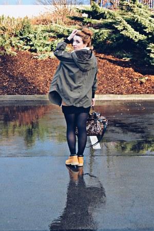 Timberland boots - H&M dress - olive green Superdry jacket - Skagen bag