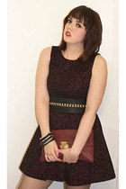 black gold chained asos belt - brick red flocked TK Maxx dress