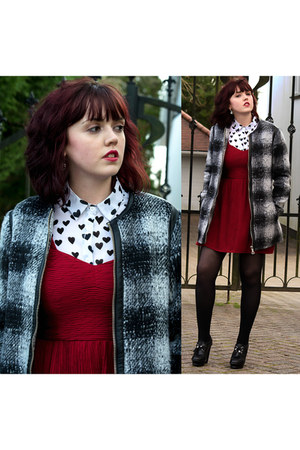 dark gray wool new look coat - white hearts new look shirt