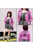 bubble gum leather jacket customised by reworked by nicolle evans jacket