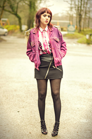 hot pink spiked reworked by nicolle evans jacket