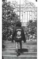 black motorcycle reworked by nicolle evans jacket
