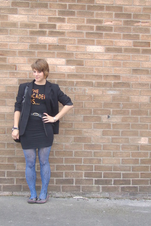 vintage blazer - skirt - Band tee t-shirt - tights