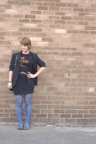 vintage blazer - skirt - Band tee t-shirt - tights